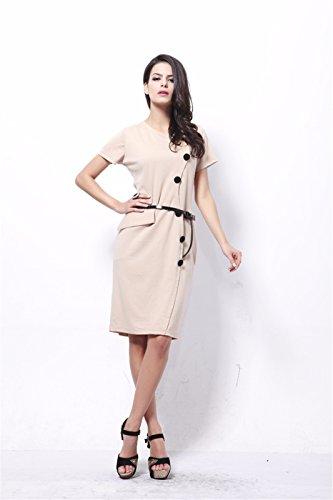 Europa Mode Women V Ausschnitt Kurzarm Bodycon Slim Wrap Midi Bleistift Kleid Khaki