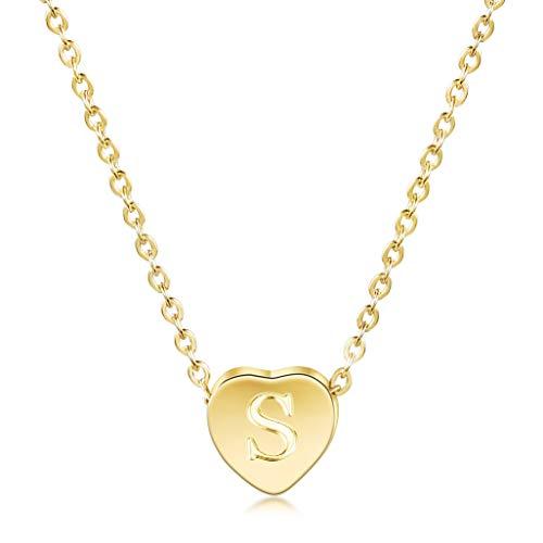 WISTIC Damen Kette mit Herz Anhänger Buchstabe A-Z Alphabet Initiale Kette Halskette | 14 K Gold Überzogen Minimalist Kette mit Herz Charme Edelstahl Geschenk für Frauen Mädchen (S Gold-halskette)