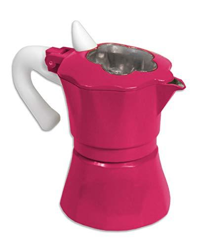 Vetrineinrete® caffettiera colorata moka 2 tazze macchina del caffè in alluminio con coperchio trasparente a forma di fiore per espresso idea regalo 61540 (fucsia) d68