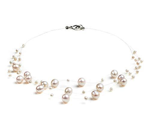 PearlsOnly - Halskette mit weißen, 3-9mm großen Süßwasserperlen in , ()