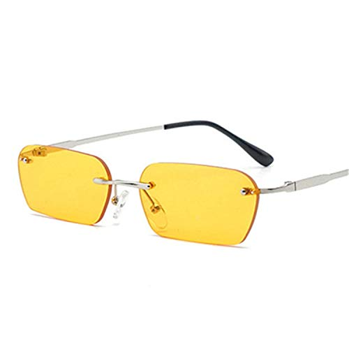 FGRYGF-eyewear2 Sport-Sonnenbrillen, Vintage Sonnenbrillen, Rectangle Rimless Sunglasses Women Vintage Brand Designer Cat Eye Sun Glasses Men Retro Small Yellow Glass UV400 as picture YELLOW