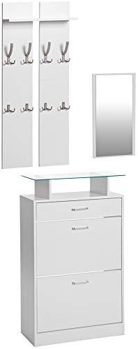 ts-ideen 3er Set Garderobe Spiegel Schuhkipper in Weiß Schuhschrank mit Schublade und Ablagefläche aus Glas