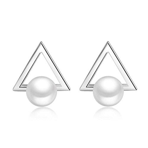 Ohrringe Damen Mädchen Ohrstecker 925er Sterling Silber Mit Perle Dreieckig Studs Ohrschmuck Hypoallergen für Frauen Freundin