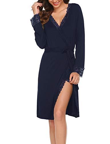 Morgenmantel Langarm Bademantel Damen Kurz Pyjamas Reisemantel Nachtwäsche Kimono mit Elegant Spitze für Schwangere Sommer Herbst
