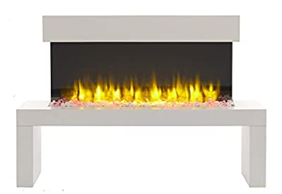 Wykeham Electric Fire, 220/240Vac, 50 Hz, 1&2kW, 7 day Programmable Remote Control with an off white MDF Mantel and Floor Standing Base Plinth