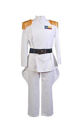 Wars Imperial Star Kostüm - FUMAN Star Wars Imperial Officer White Grand Admiral Uniform Cosplay Kostüm Herren Weiß S