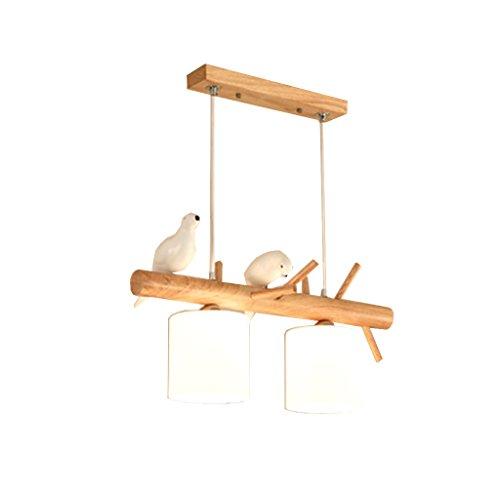 Health UK chandelier- Leuchter-festes Holz-zwei Vogel-Beleuchtungs-Zeichnungs-hängende warme LED E27 örtlich festgelegte Deckenleuchte Haushalt Beleuchtung ( größe : Two-head ) (Vögel Zeichnung)