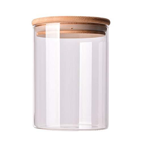 mit Luftdichter Dichtung Holzdeckel Klar Candy Jar Lebensmittel Lagerung Kanister für Tee Kaffee Gewürz Zucker Salz ()