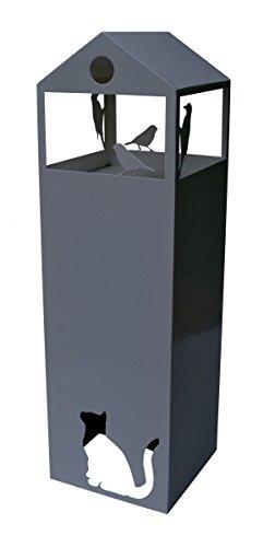 pulverbeschichtete Säule Vogelhaus 100x30x30cm anthrazit