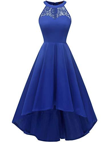 DRESSTELLS 1950's Robe de soirée de Cocktail Vintage asymétrique High-Low années 50 col Rond Style Halter Longueur Mollet Royal Blue S