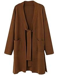 f5e279a9e5df3 FNKDOR Manteau en Tricot Femme Pulls avec Poche Avant Vest Manches Longues  Outwear Elégant Cardigan Blouson