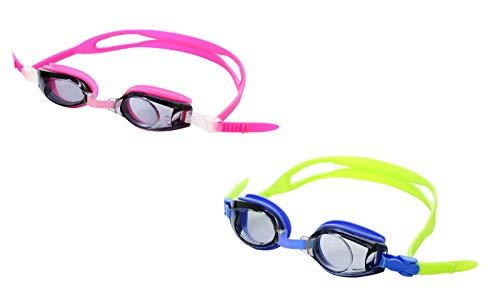 Sports Vision World Occhiali da Nuoto Graduati Meno e più diottria per i Bambini Rosa e Blu -2.50