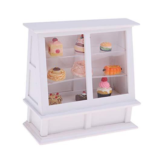 Baoblaze Miniatur Möbel Modell mit Zubehör Set für Puppenstube Schlafzimmer / Garten / Esszimmer / Wohnzimmer Dekoration - Kuchenschrank + Kuchen (Etagenbett Schlafzimmer-sets)