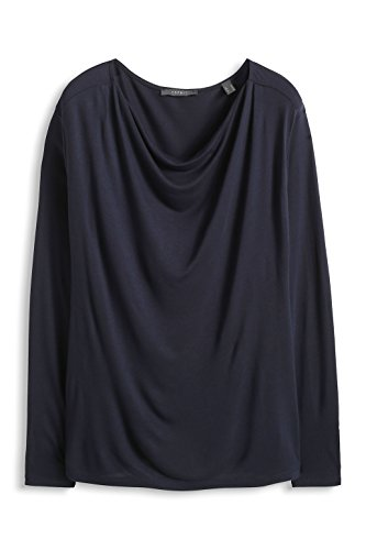 Esprit 995EO1K912 - T-shirt - Uni - Manches longues - Femme Bleu (Dark Navy)