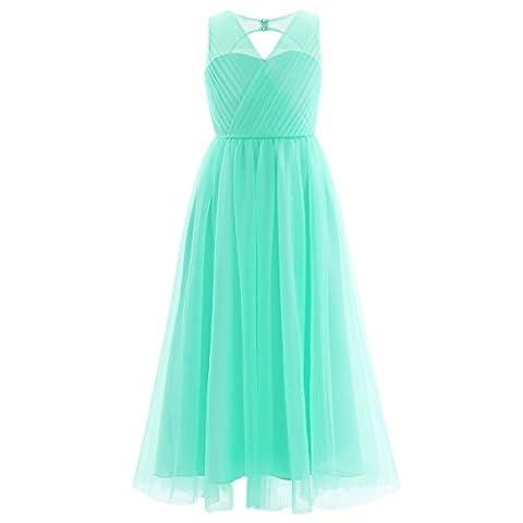 Freebily Girls Kids Mesh Cutout Back Wedding Bridesmaid Birthday Party Princess Flower Dress Turquoise 11-12 Years