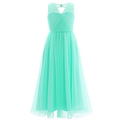 enkleider für Hochzeits Brautjungfern Tüll Festzug Partei Festliches Kleid für Mädchen 104 116 128 140 152 164 Türkis 146-152 ()