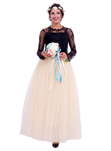 URVIP Damen's Tüllrock Lang 5 Layer Prinzessin Kleider Lang Petticoat Ballettrock Maxi Unterrock Pettiskirt Lang One Size Beige