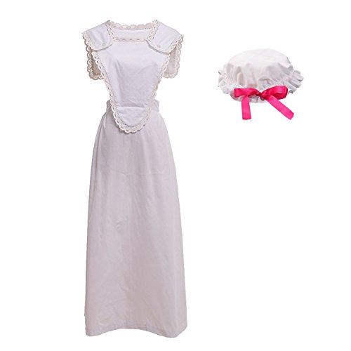 Damen Kostüm Edwardian - GRACEART viktorianisch Schürze Schürze mit Mob Mütze100% Baumwolle (4 Stile Option) (Stil-1)