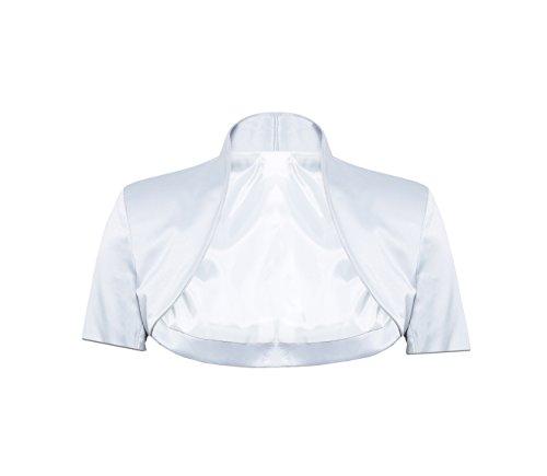 Élégante veste boléro à manches longues en satin - Tailles  34 36 38 40 42 44, disponibles en plusieurs couleurs Blanc - blanc