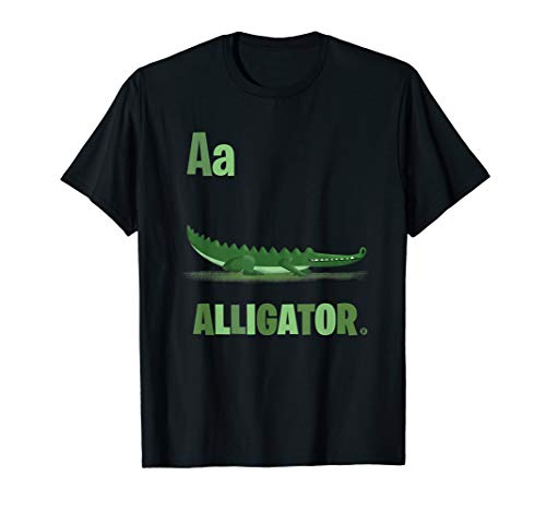 Niedlich illustriert A ist für Alligator Erwachsene T-Shirt - Alligator-erwachsenen T-shirt