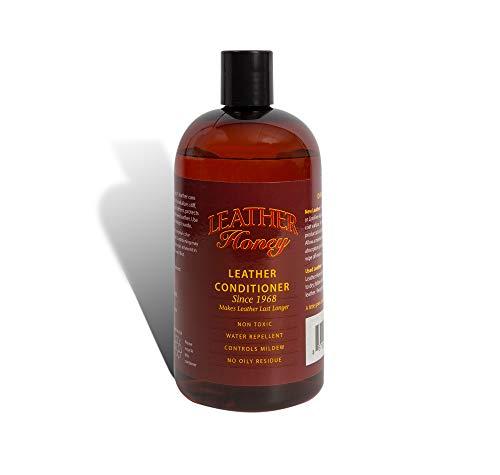 Leather Honey - Leather Conditioner, il miglior condizionatore per la pelle dal 1968, bottiglia da 473 ml. Per l'uso su abbigliamento in pelle, mobili, interni auto, scarpe, borse e accessori. Prodotto negli Stati Unit