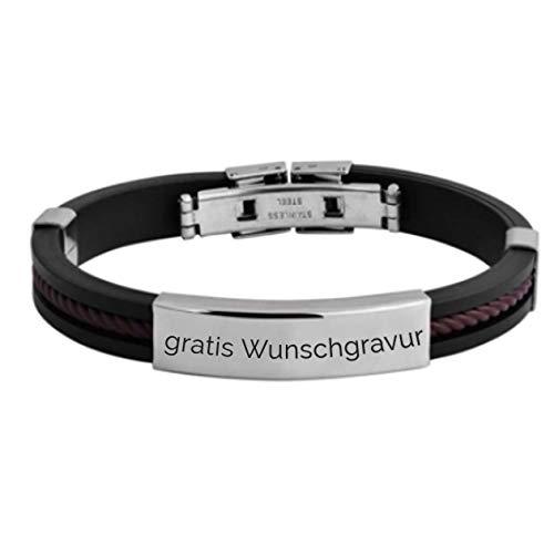 MyOwnName sportliches Armband mit gratis Gravur - Edelstahl+Kautschuk