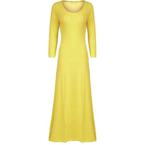 Damen 3/4 Ärmel Damen Promi Einfarbig Dehnbar Aufgeweitet Swing Lang Maxi Kleid Gelb - Slimfit Angepasst Übergroß Baggy Lose