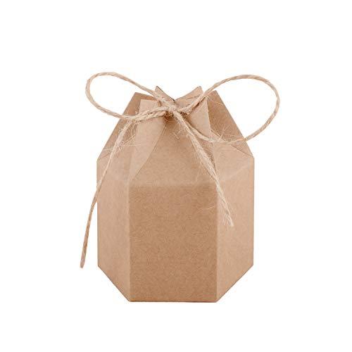 Wolfteeth 50 pz scatole bomboniere regalo scatoline carta esagonale con corda in canapa per matrimonio compleanno festa