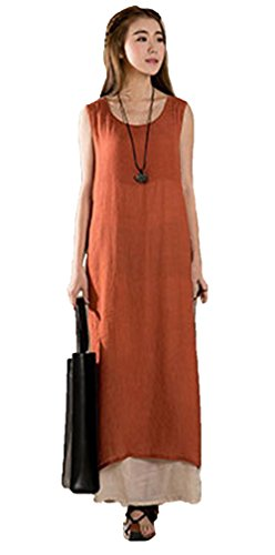 Blansdi Femme Coton Col Rond Sans Manches à Bretelle Vest Lâce Large Casual Robe Longue Tunique Maxi Robe de Soiree Bal Plage Loose A-line Robe Orange
