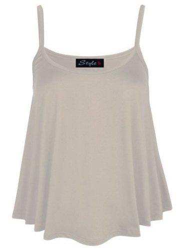 Neue Damen Plus Größe Riemchen Swing-Crop Tops Mini Flare Vest Tops 8�?2 Gelb - Cremefarben