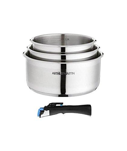ARTHUR MARTIN Set 3 casseroles 16/18/20 cm + 1 poignée gris