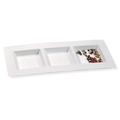 First 210APU3TAPA Assiette rectangulaire de 3 compartiments Pulpe Blanc 26,5 x 12 x 12,5 cm 25 Pièces