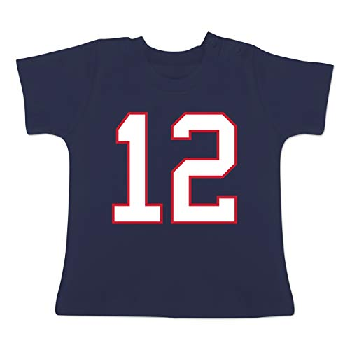 Sport Baby - Football New England 12-18-24 Monate - Navy Blau - BZ02 - Baby T-Shirt Kurzarm