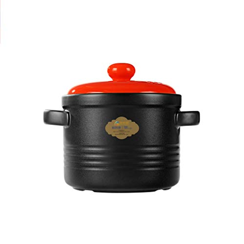 Ceramic Pot, Household Simple Pot Multi-Function Pot Porridge Pot Chinese Style Pot Risotto Pot Insulation Pot Capacity: 2.6L (Color : RED)