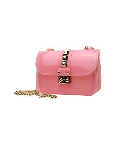 Glänzende Designer Mini-Tasche by Sassyclassy | Elegante Damen-Handtasche mit Nieten in der Farbe Gold | Rosa Chain-Bag mit goldfarbener Kette | Leicht Transparent | Einfache Pflege & Wasserabweisend (Braut-Öse)