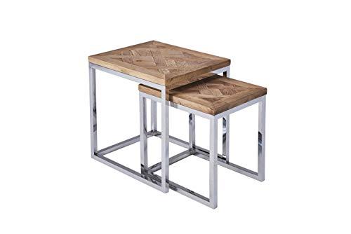 CAGUSTO® Beistelltisch Set Pure - 2 edle Satztische aus massivem altem Holz und poliertem Edelstahl im Vintage Design. Kein chromiertes Metall
