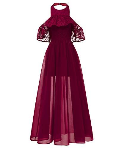Laorchid Damen Chiffon Lang Kleider Vintage 50's Abendkleid Ärmellos Brautjungfern Cocktail Hochzeit Partei,Burgundy,S(EU 32-34) Chiffon Vintage Abendkleid