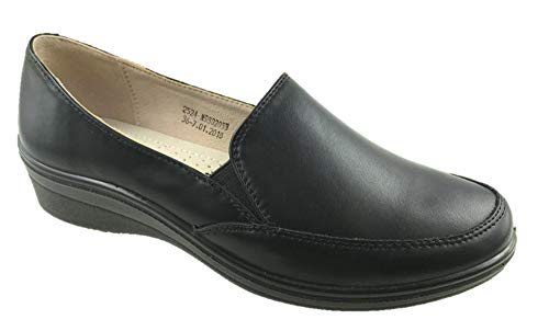 Health Shoes Ladies Soft Faux Leather Slip On Low Wedge Comfort Leather Insole Black Size 3-8 (6 UK)