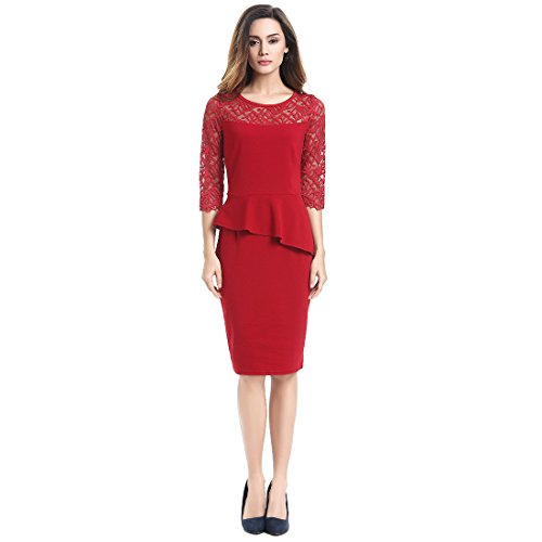 Bafei - Robe - Peplum - Manches 3/4 - Femme red