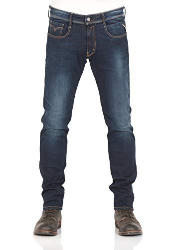 Replay Herren Anbass Slim Jeans, Blau (Dark Blue 7), W38/L32 (Herstellergröße: 38) -