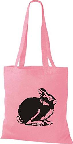 Shirtstown Stoffbeutel Tiere Hase, Rammler, Häschen Rosa