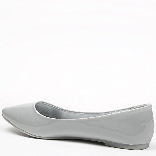 Ideal Shoes - Ballerines vernies classiques Patsy Gris