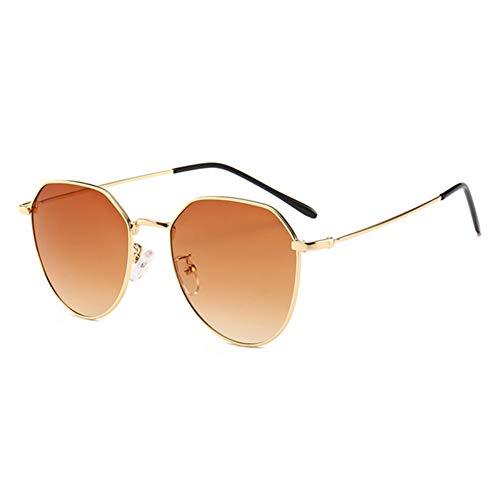 MJDABAOFA Sonnenbrillen,Neue Piloten Sonnenbrille Unisex Sonnenbrille Gold Frame Braune Linse Brillenmode Shades Sonnenbrille Männer Frauen Brillen Uv400
