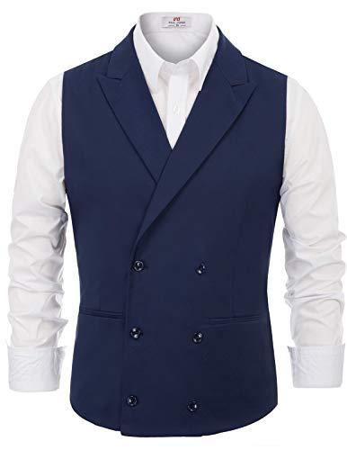 Paul Jones Herren Slim Fit 2 Pockets Double Breasted Peak Reverskragen Anzug Weste - Blau - XL - Peak Revers Weste