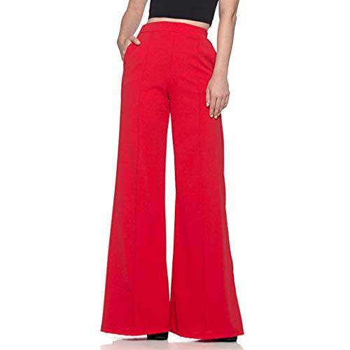 Kostüm Piece One Suit Leather - TUDUZ Damen Hohe Taille Einfarbig Lang Hosen Lässige Sporthose Freizeithose Wide Leg Long Trouser Hose mit weitem Bein Leggings Elegant Weite Hosen(Rot,XXX-Large)