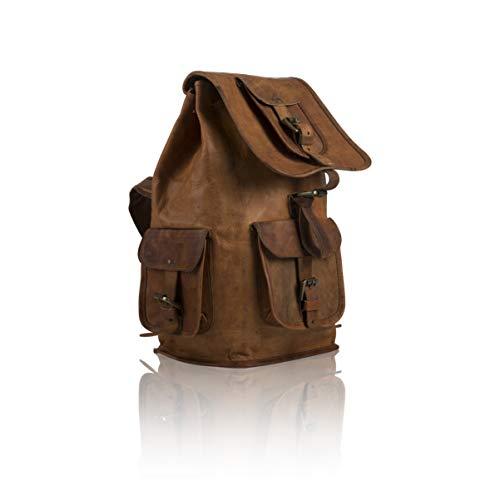 Global Village Bazaar Handgefertigter Vintage-Retro-Rucksack aus echtem Leder mit Vintage-Design, rustikaler Schultertasche, für Reisen, Wandern, Schule, College für Herren und Damen, lässig - Handgefertigtes Leder-rucksäcke