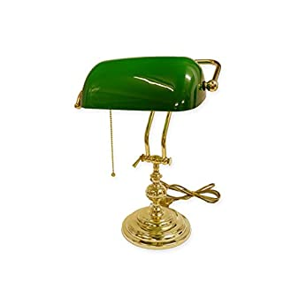 Antike Fundgrube Bankerlampe Bankers Lamp Schreibtischlampe Messing mit grünem Glasschirm (8705)