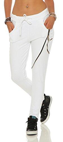 Mr. Shine Damen Stylische baggy Jogginghose für Damen mit einschnitten Reißverschluss und strech Bund (XL, Weiß)