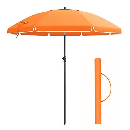 SONGMICS 200cm Sonnenschirm, Marktschirm, Sonnenschutz, achteckiger Strandschirm, knickbar, mit Lüftungsöffnungen, Tragetasche, ohne Ständer, für Strand, Garten, Balkon und Schwimmbad, Orange GPU65OG