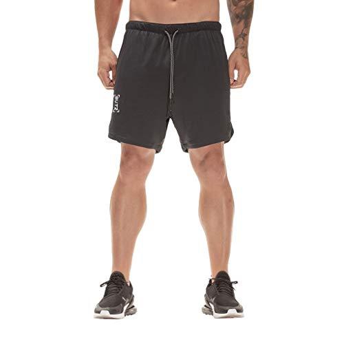 LIGESAY Herren Shorts Fitness Freizeit Schmale Passform Sport Einfarbig Farbe Shorts Jeans Hose Trousers Bermuda Kordelzug Golf Fussball Leichte Feldhose Fight Neon Sprinter Hawaii -